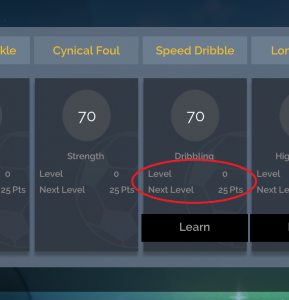 Current level and how many points required to learn the next level